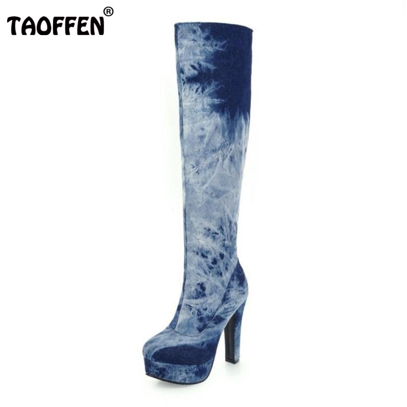 TAOFFEN Size 33-50 Ladies High Heel Boots Women Zipper Knee Thin Heels Boot Warm Winter Party Fashion Dating Female Botas Mujer купить дешево онлайн