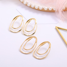 Simple Fashion Earrings  Silver Needle Alloy Gold Irregular Geometric Pattern Handmade Ladies Accessories