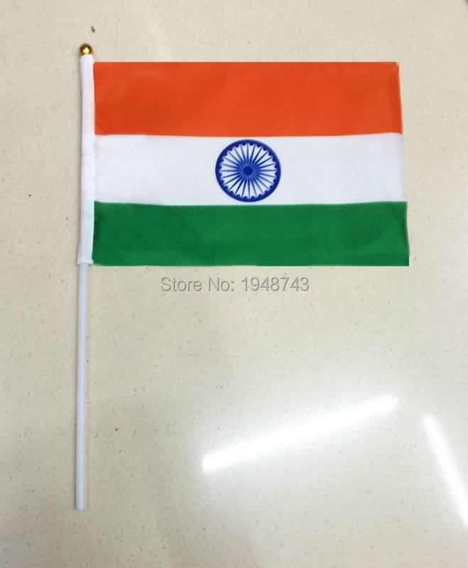 2017 10pcs the Small India flag 14*21CM India Flag the hand national flag with Pole Handing flag