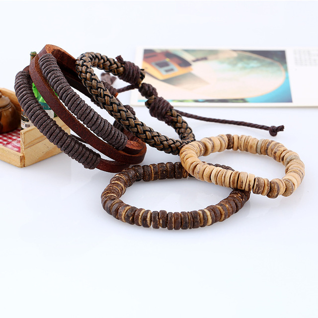Handmade Beaded Bracelet Set with Braided Rope and Handmade Vintage Leather Bracelet