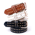 2016 New Fashion Vintage Luxury Rivet Punk Rock Women Belt PU Leather Men Hip Hop Waist Strap White