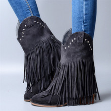 Gray Blue Fashion Women Short Ankle Boots Slip On Fringe Martin Booties Thick Square Heel Botas Militares Rivets Botines Mujer