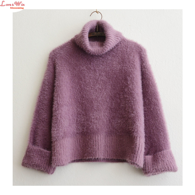 Preppy Turtleneck Collar Thic Mohair Fluffy Pullovers Sweater Women Warm  Jumper Topcover Large Size Sweaters 2359c08fb974