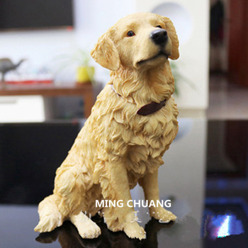 Cute Puppy Statue Simulation Golden Retriever Creative Art Craft Resin Home Decor Birthday Gift Boxed Collectible Model Toy D105