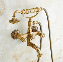 Vintage Carved Flower Antique Brass Double Handles Wall Mounted Claw Foot Bathroom Tub Faucet Mixer Tap With Handshower mtf750