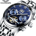 Original GUANQIN Mechanical Watches Men Steel Waterproof Automatic Watch Men Big Calendar montre homme Relogio Masculino 2016