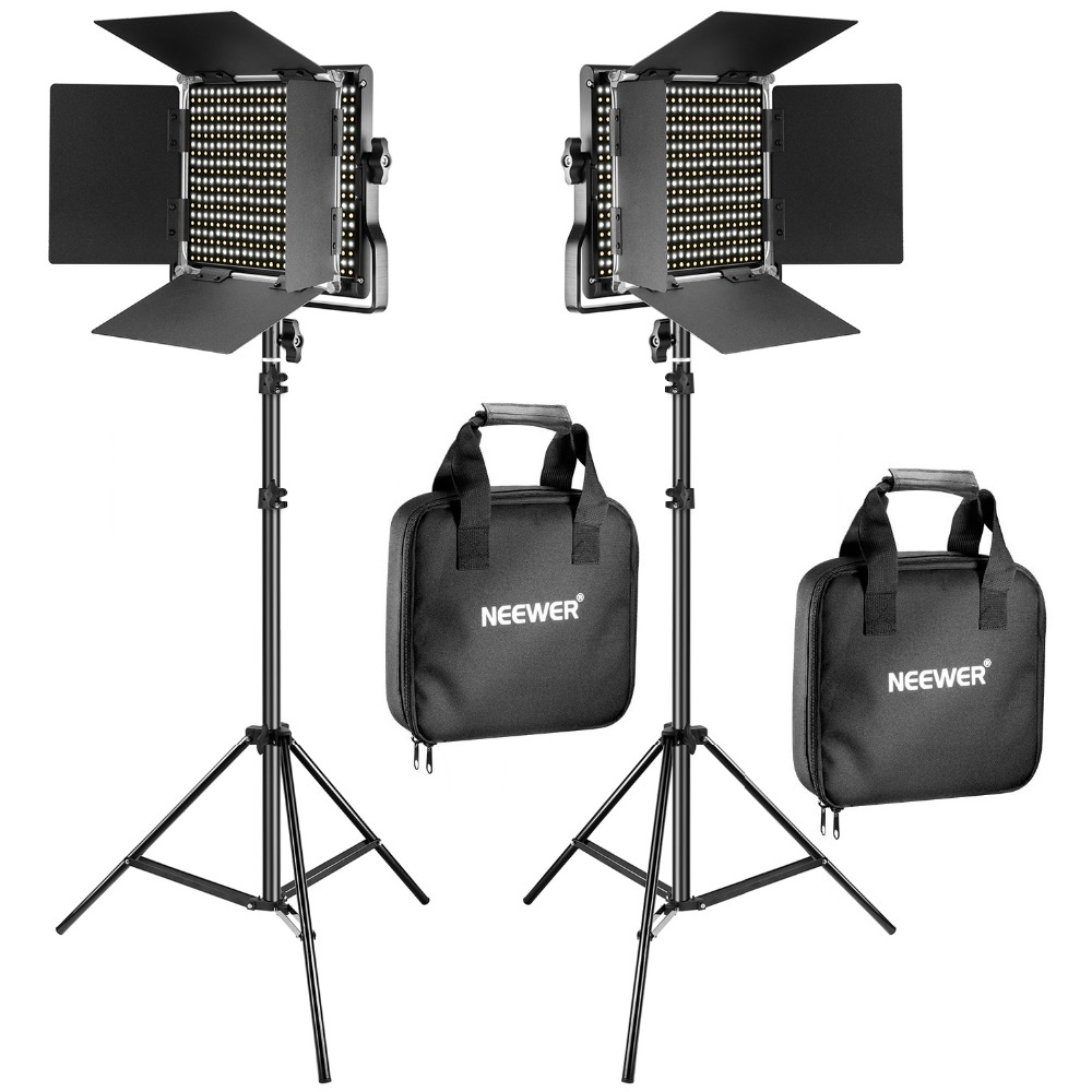 Neewer 2 Pack Bi Color 660 LED Video Light Stand Kit for studio photography video dimming light with U bracket and barn door цена