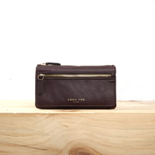 EMMA YAO fashion leather wallet female zipper purse Litchi grain coin purses holders