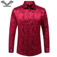 VISADA JAUNA 2017 New Arrival Men Shirt Printed Casual Brand Clothing Long Sleeve Business Chemise Homme Man Plus Size N1358