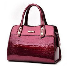 ICEV New European Fashion Designer High Quality Patent Leather Handbags Women Alligator Ladies Office Totes Sac