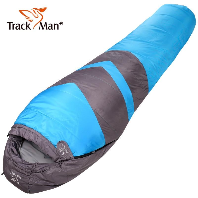 Camping sac de couchage avec col 215*80 cm momie coton printemps automne randonnée sacs de couchage Camping équipement de plein air