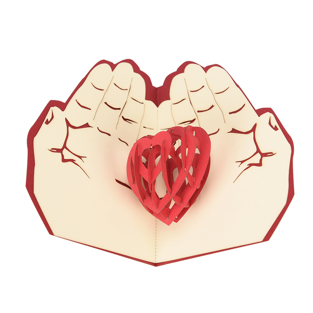 Valentinstag Weihnachten Karte Rote Herz Pop Up Karte 3D Handmade  Grußkarten Weihnachtsgeschenk