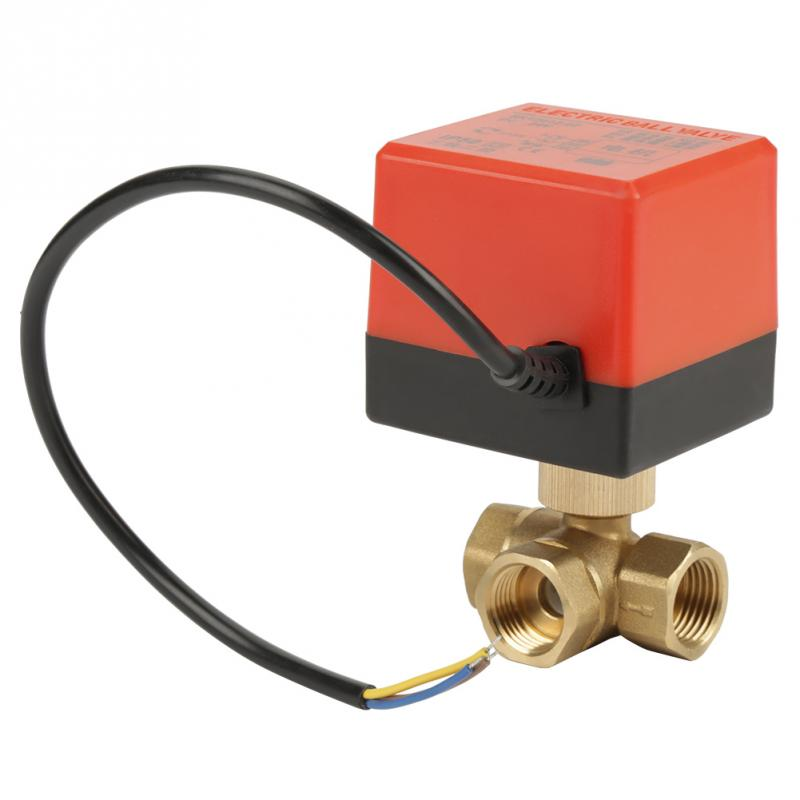 "Banjo Electric 3 Way Directional Ball Valve: G1/2"" DN15 Brass Valve 3 Way 220VAC Motorized Ball"
