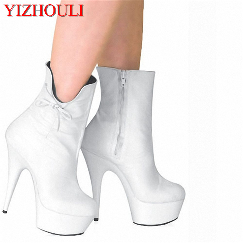15cm high-heeled shoes the bride wedding shoes white opening unique bow princess boots Exotic Dancer ultra high short boots 2017 white lace butterfly crystal pendant with ultra fine pointed high heeled shoes the bride wedding shoes wristband sandals