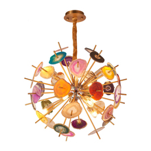 Post Modern Colorful Agate G9 chandelier Light Metal Globe hanging Lamp Lustre Indoor Lighting Fixtures Luxury Art Deco Lampara