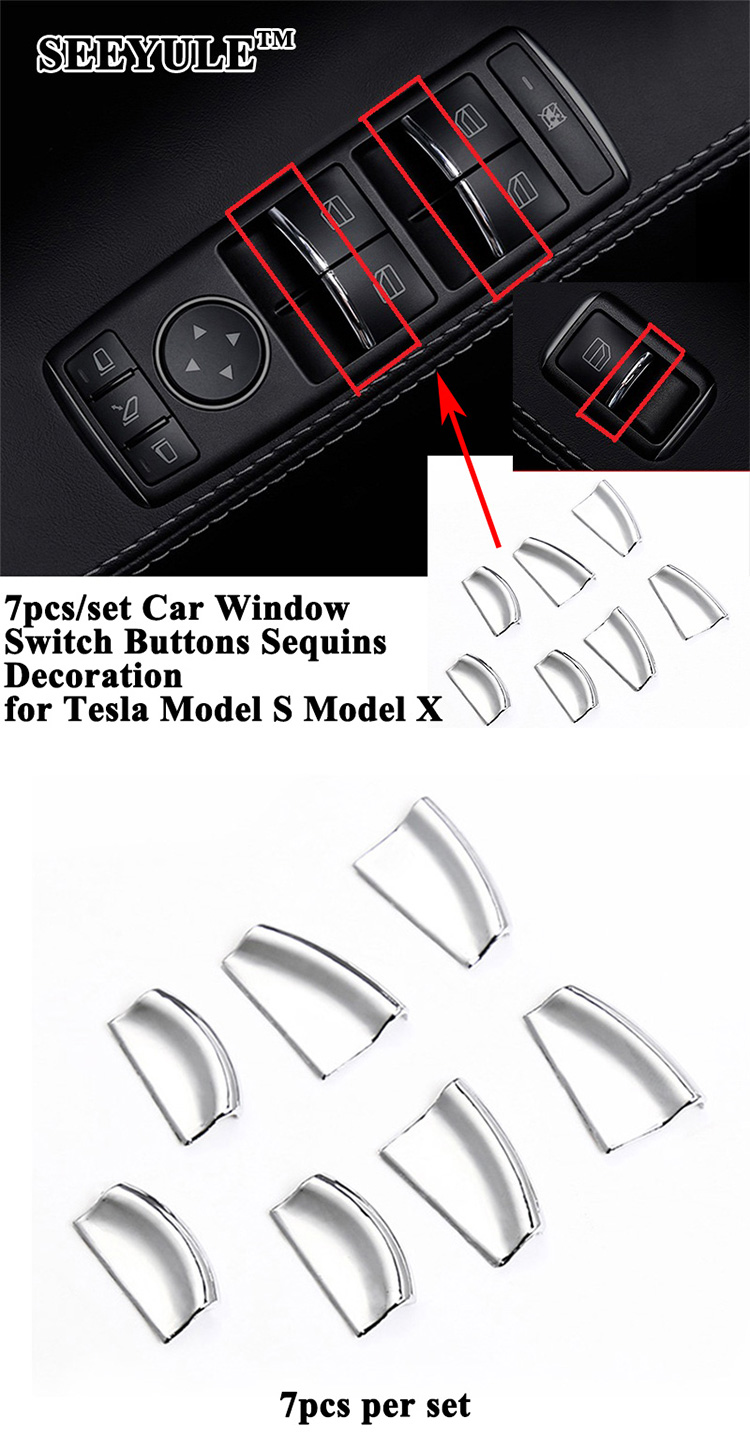 7pcs Set Seeyule Car Window Control Switch Buttons Sequin Decoration The Tesla Cover Styling Modification For Model S X