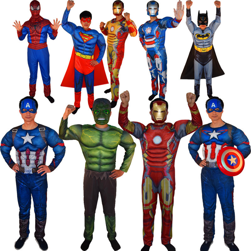 Vuxen MAN SuperHero Spiderman Batman Superman Amerikanska Captain Hulk Thor Iron Man Muscle Costume + Mask för Halloween Party Show