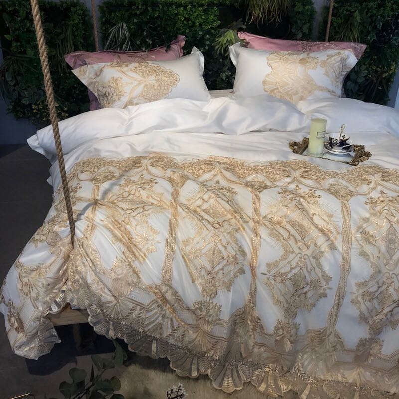4Pieces Golden embroidery Luxury wedding Bedding Set Queen King Size Bed Set lace Duvet Cover Bed Sheet Pillow Case