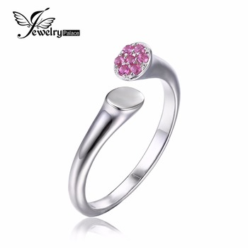 JewelryPalace 925 Sterling Silver Created Pink Sapphire Wrap Stackable Ring 6 7 8 Size Adjustable Design Women Ring Fine Jewelry