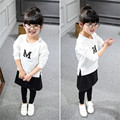 Children Clothing Real 2016 New Girls Clothes Kids Girl's Sports The M Long Sleeved Sweater + Culottes Two Suit T073