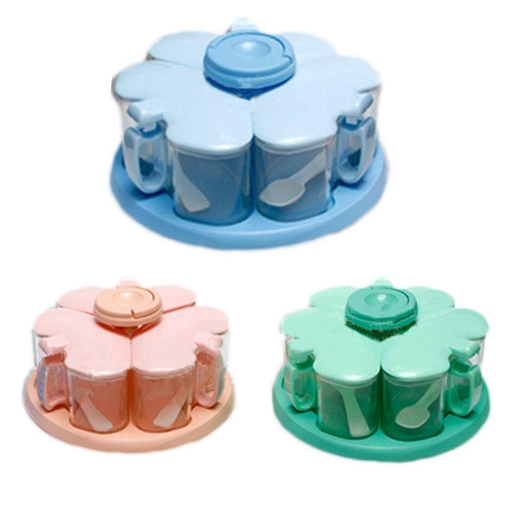 1 Set Warna Acak Garam Merica Cruet Bumbu Rotary Kotak Toples Dapur Rak Penyimpanan Alat Memasak Di Salt Babi Gudang Server Dari Rumah