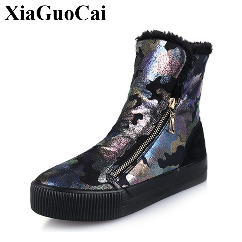 Winter New Fashion Shoes Women Boots Ankle Warm Snow Boots with Fur Zipper Platform Flat Boots Camouflage Cotton Shoes H422 35 winter new fashion shoes women boots ankle warm snow boots with fur zipper platform flat boots camouflage cotton shoes h422 35