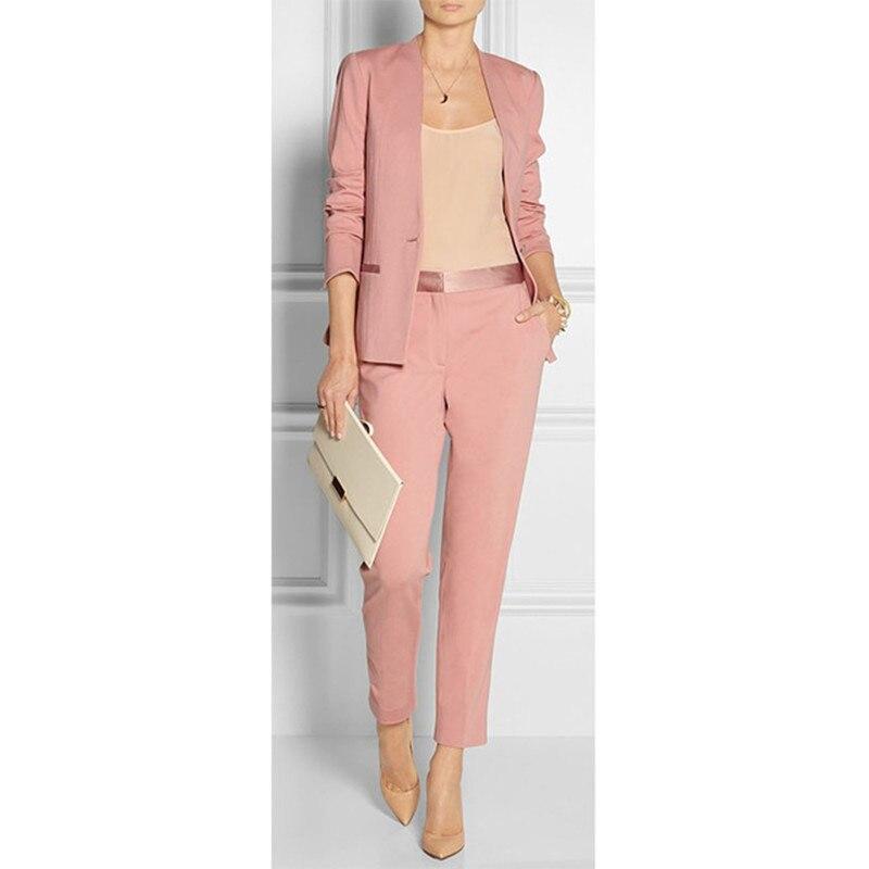 36       98   Customized new pink fashion Slim women's suit ladies office business formal suit two-piece suit (jacket + pants)
