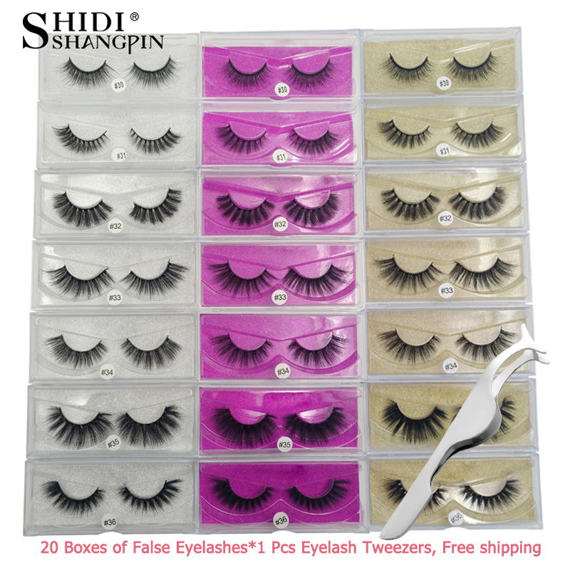Wholesale 20 pairs mink eyelashes strip 3d faux mink lashes makeup full strip lashes hand made