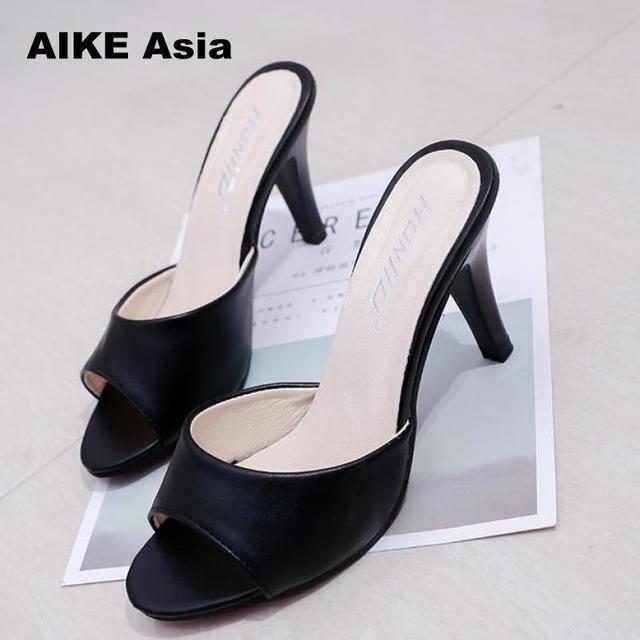 0a25b677d7f 2018 women Concise Fashionshoes woman Thin Heels women s Buckle slingbacks  pumps high heels Peep Toe Super High
