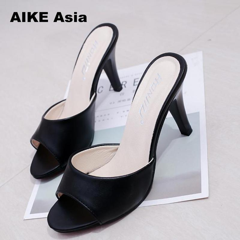 2019 Women Concise Fashionshoes Woman Thin Heels Women's Buckle Slingbacks Pumps High Heels Peep Toe Super High