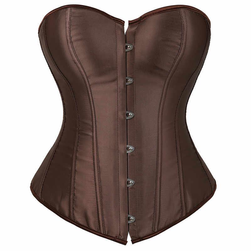 Сатиновые корсеты и бюстье плюс размер сексуальное белье готическое Корсеты выше груди для женщин парча Бурлеск костюмы Боди формирователь