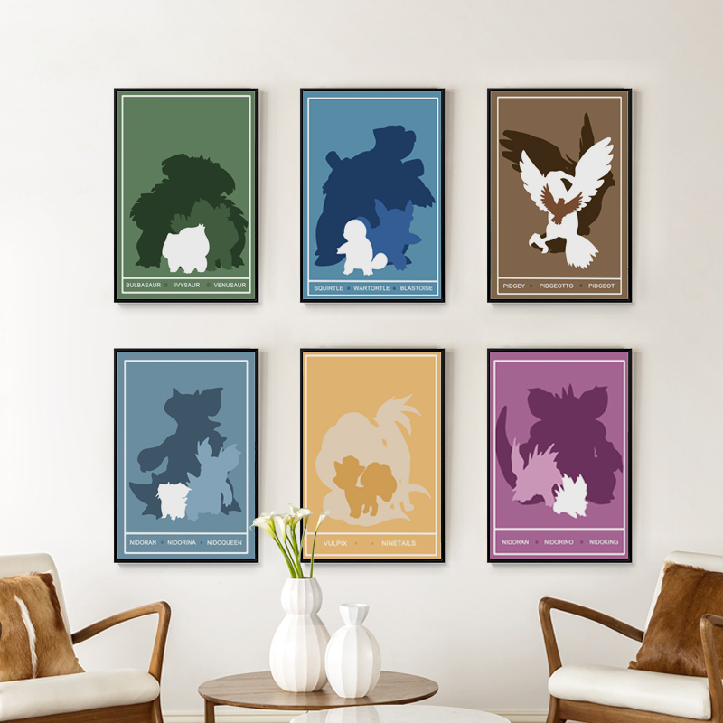 Elegant Poetry Animation Cartoon Pokemon Go Monster Evolution Canvas Painting Art Print Poster Picture Child Bedroom Decoration
