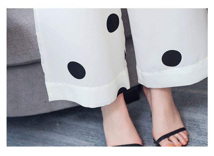 Summer Dot Print Two Piece Sets Outfits Women Plus V-neck Short Tunics Tops And Wide Leg Pants Suits Elegant Ladies 2 Piece Sets 48
