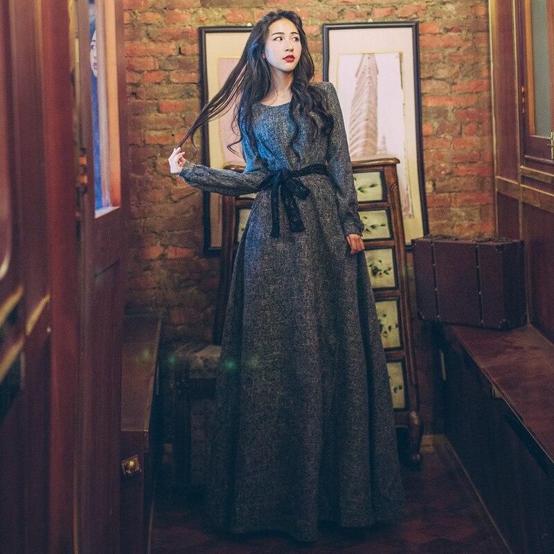 Elegant Vintage Dark Gray Long Maxi Dress Long Sleeve Sashes Boho Hippies Women Dresses Female Vestidos