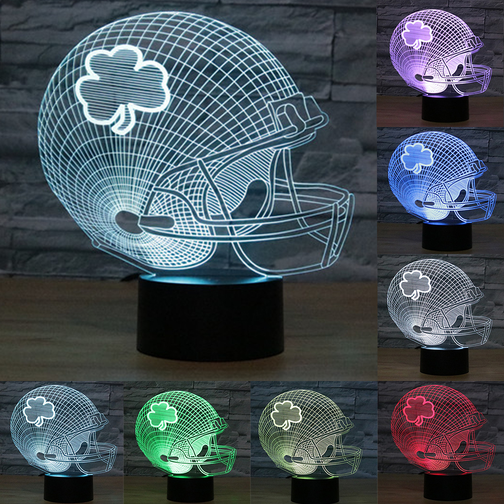 Acrylic flower football Helmet 3D Night Light USB LED Table Lamp Touch Button Desk Lamp 7 Colors Change light as Gift IY803699