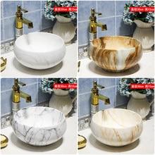 30CM estilo antiguo, Europeo arte cuenca encimera fregadero hecho a mano recipiente fregadero vanidad lavabo de cerámica artístico lavabo en el cuarto de baño