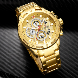 Image 2 - NAVIFORCE relojes deportivos para hombre, cronógrafo de pulsera, resistente al agua, de cuarzo, militar, dorado, Masculino