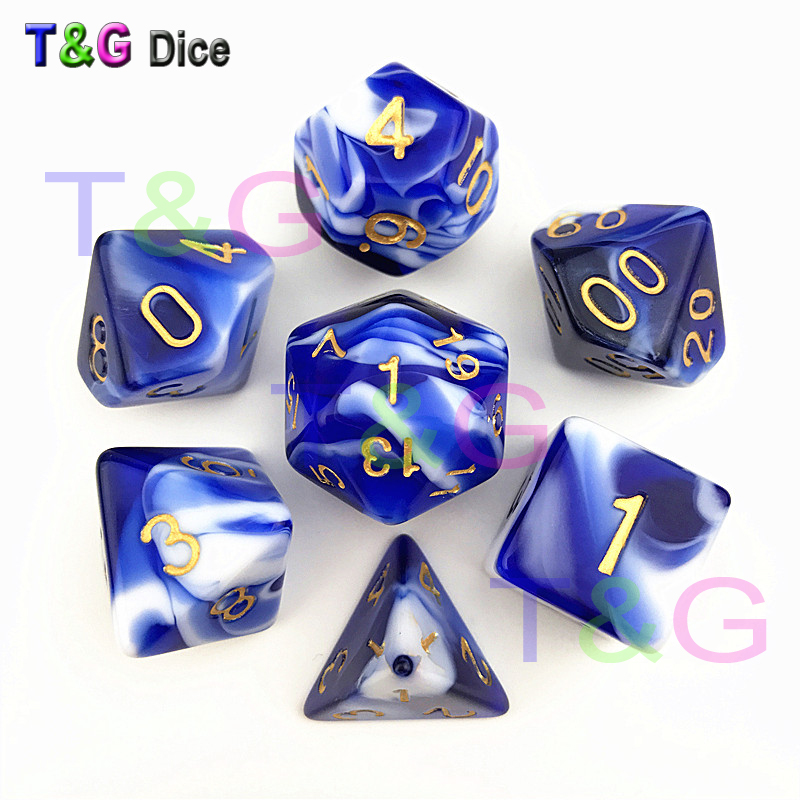 New Transparent Blue & White Color Dice D4-D20 For RPG DND Game Parties Toys