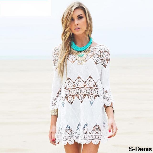Hollow Out White Crochet Bikini Cover Ups Beach Dressy Crochet Beach Wear Handmade Bikini Dress