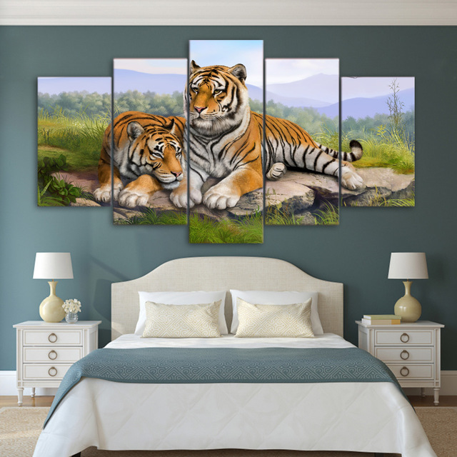 Bon 5 Piece Canvas Art Couple Tiger Paintings Wall Pictures Living Room Poster  Prints Wall Art Canvas