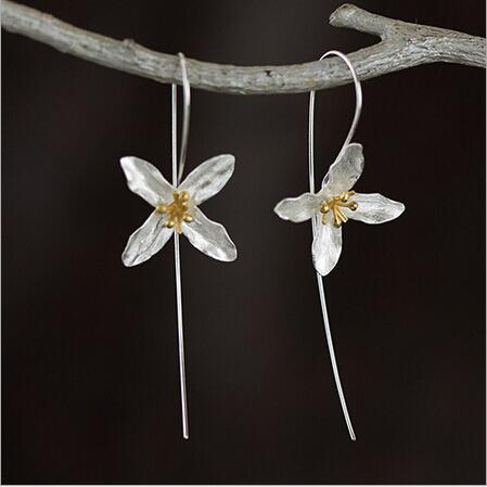 New arrival hot sell fashion flower 925 sterling silver ladies long stud earrings jewelry gift drop shipping