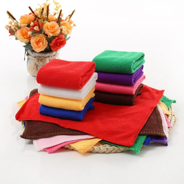 1 pz 25*25 cm Colore Solido Morbido Viso Quadrato Asciugamano In Microfibra Auto