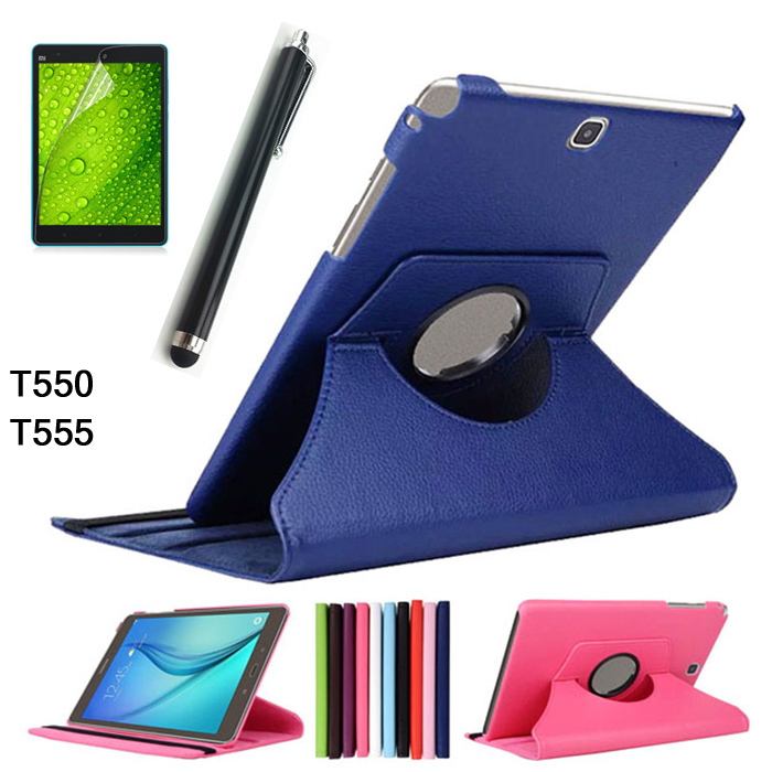 Free shipping For Samsung Galaxy Tab A T550 T555 PU leather 360 Rotating Stand Case cover For Galaxy Tab A 9.7inch +Stylus+film rotating lichee pattern pu leather case cover stand for samsung galaxy tab 3 7 0 p3200 sky blue