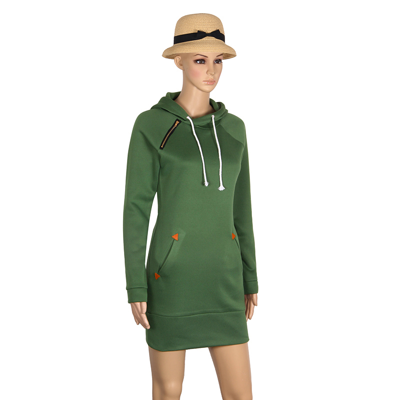 Warm Winter High Quality Hooded Dresses Pocket Long Sleeved Casual Mini Dress Sportwear Women Clothings LX130 23
