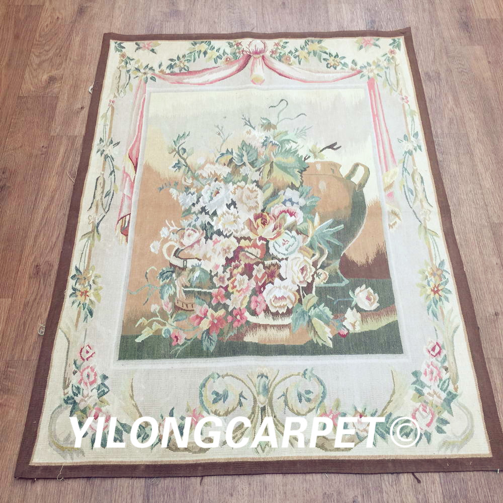 Yilong 3.1'x4.2' customized flat weave handmade french wool aubusson style wall tapestry (Au38 3.1x4.2)