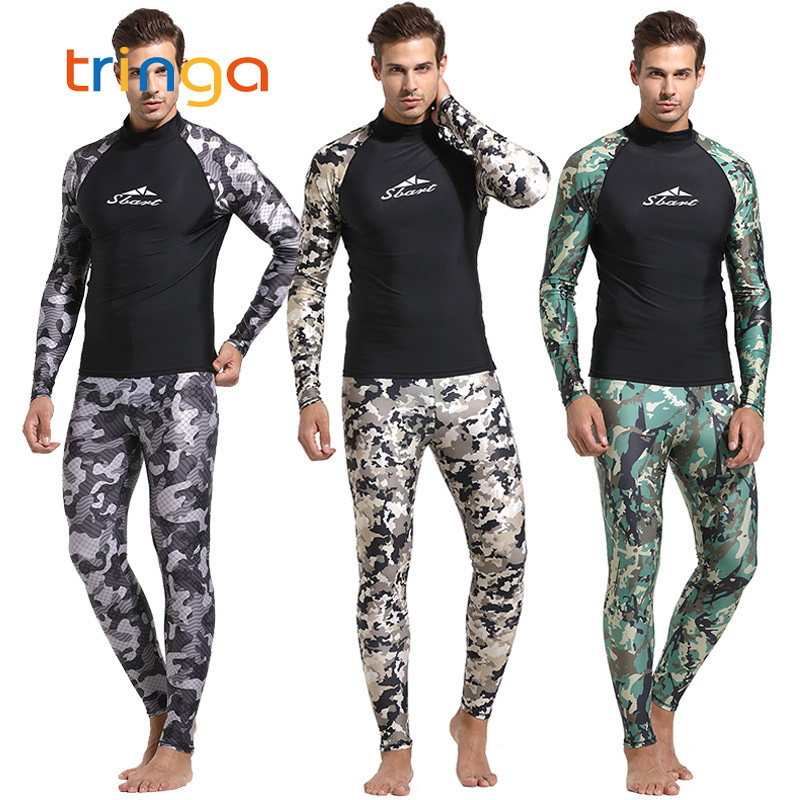 4b0fdf3898c9 Camuflaje de piel traje de buceo hombres 3mm traje de buceo de natación  traje de Surf de triatlón ...