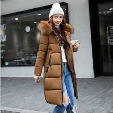 2018 New Winter Women Down Coat Hooded Long Warm Jacket Slim Fit Coat Plus Size Parka Female Big Fur Collar Thick Parka FR1001 цены онлайн