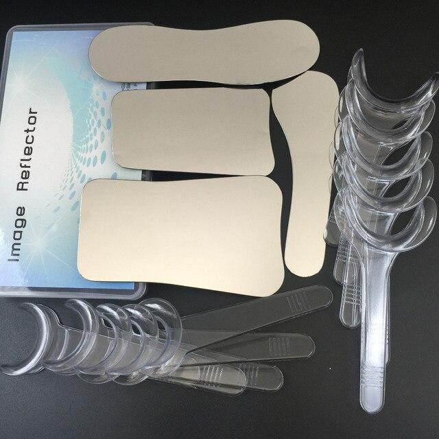 1 juego/4 piezas de espejo de fotografía de clínica Dental Intraoral + 10 piezas de Retractor de labios abridor de boca