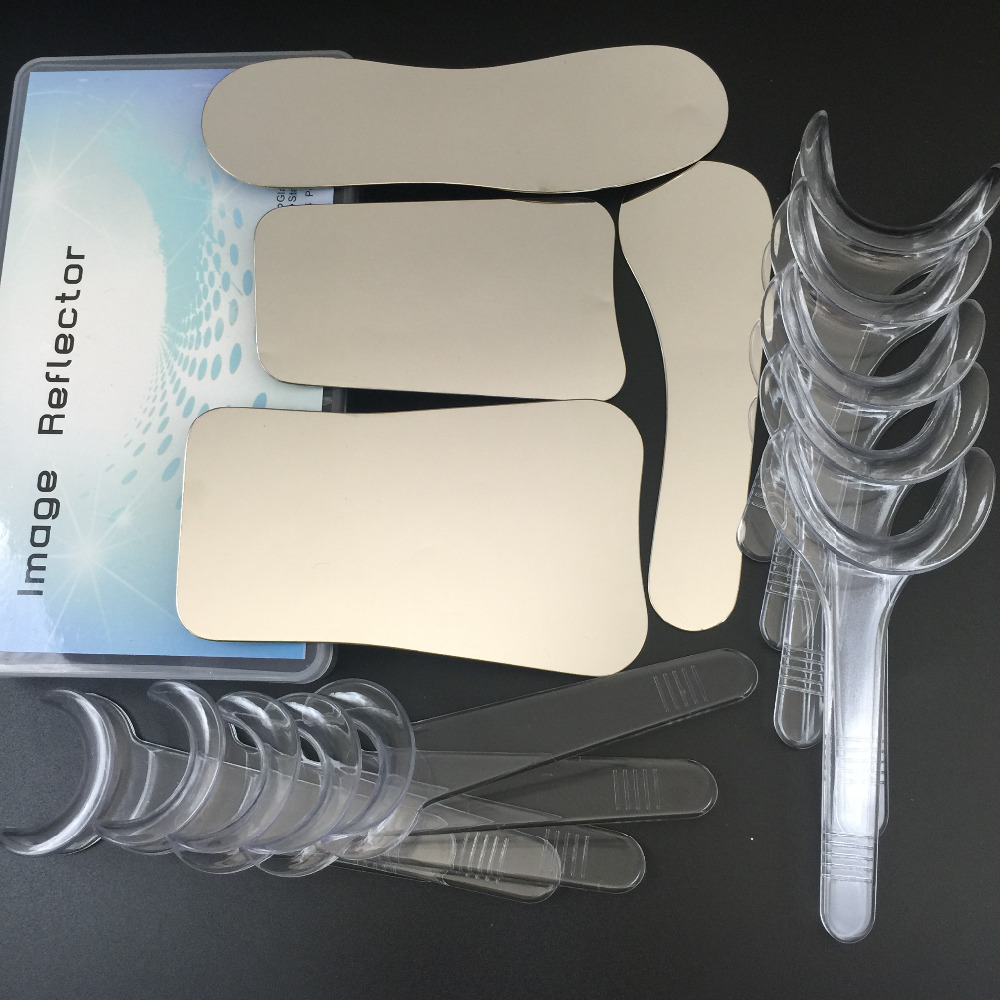 1set/4pcs Intraoral Dental Clinic Photography Mirror+ 10pcs Retractor Cheek Lip Mouth Opener