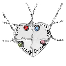 COLSEN new hot 1 set best friends necklace girls & ladies forever friendship heart pendant 4 pieces high-grade crystal jewelry